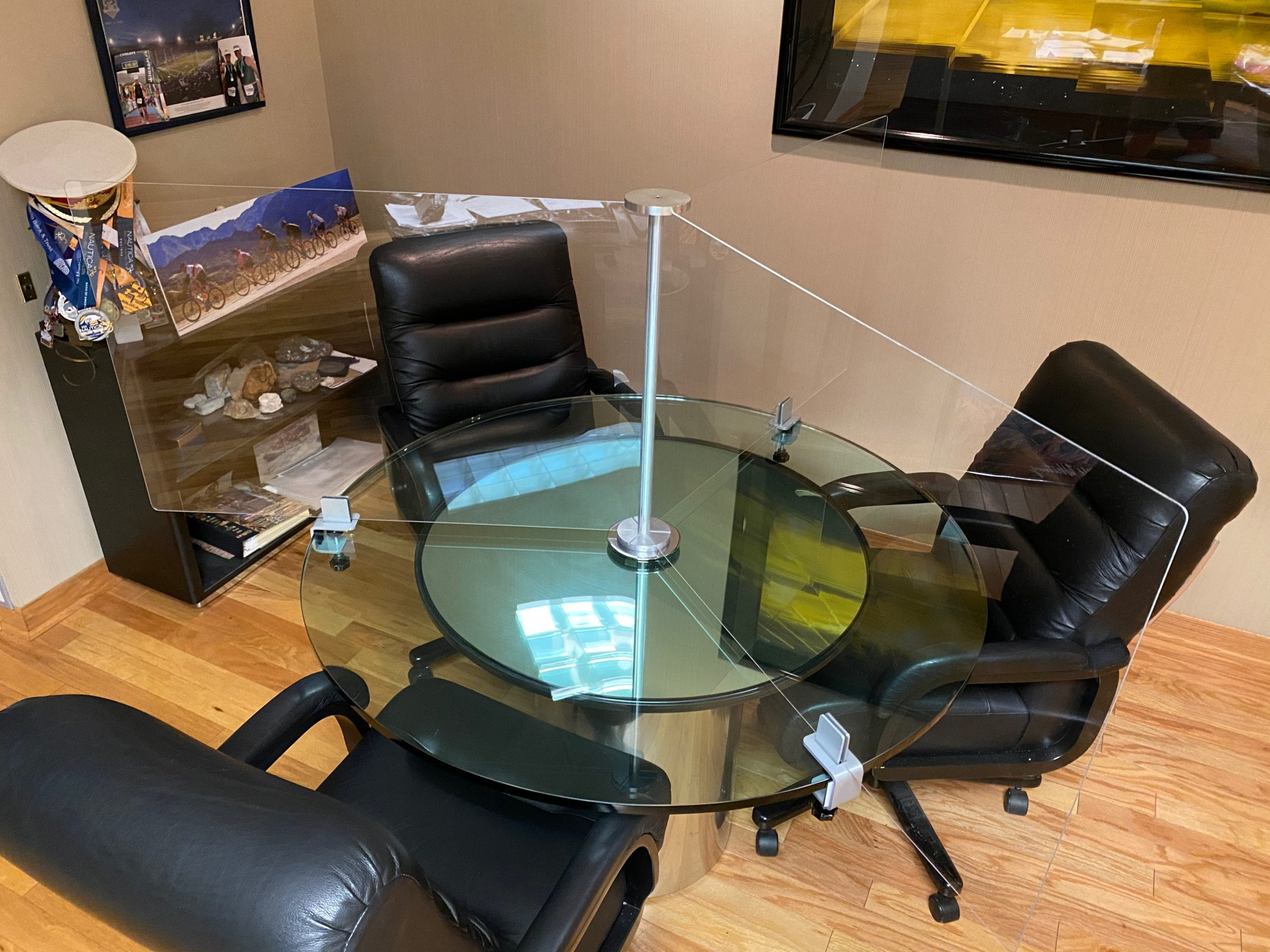 Glass Conference Table, 3 Person Executive